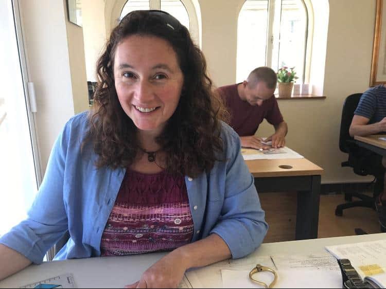 Navigation exams in Gibraltar. Mate Julie Harris improving herself