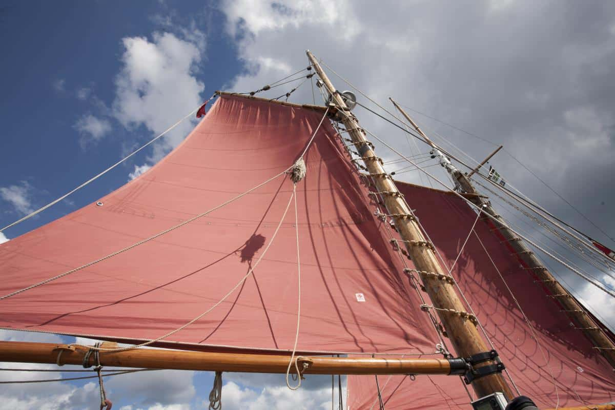 Gaff rigged sails have two halliards to hoist them called peak and throat hallaird