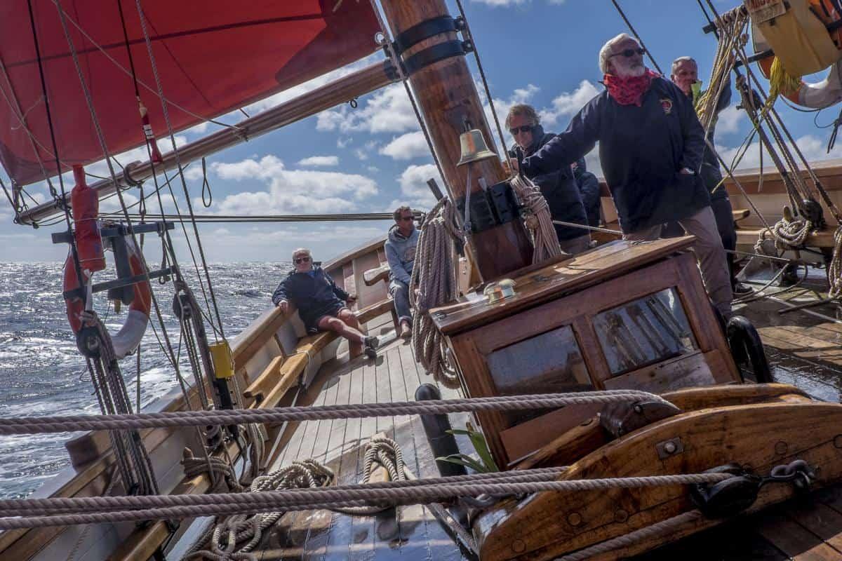 Pilgrim at sea. Photo by Ian Kippax