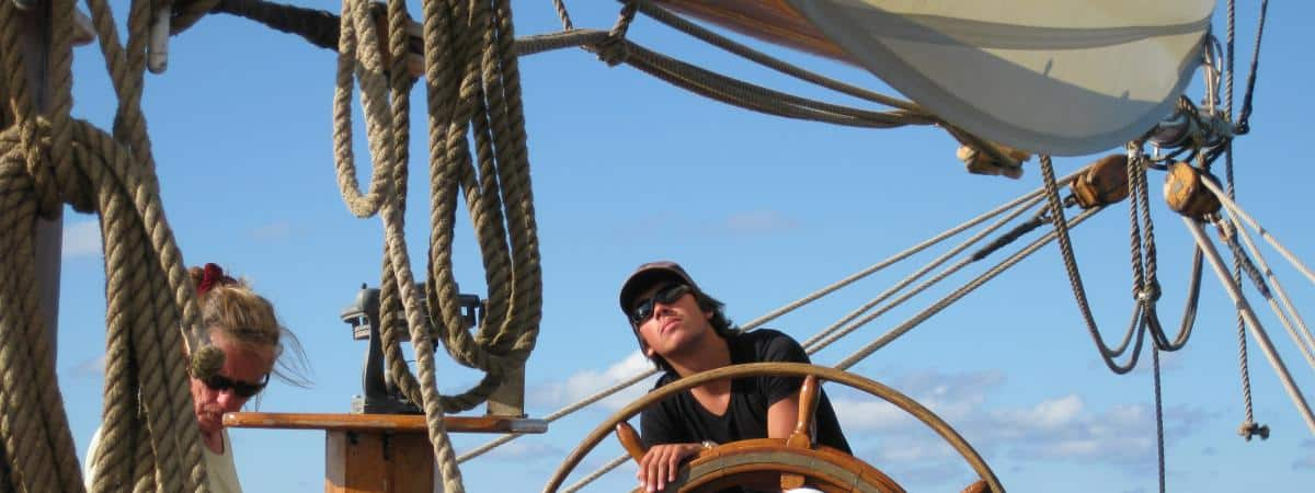 Learn to steer a gaff ketch on holiday. Tecla has a big ships wheel