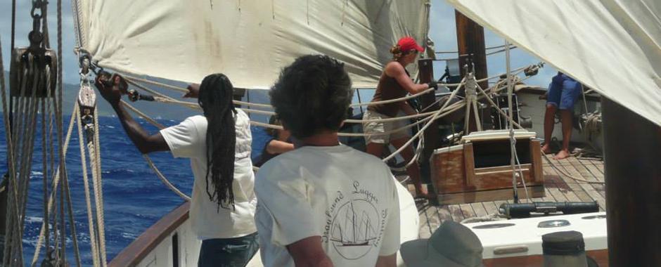 sail handling on sailing lugger Grayhound