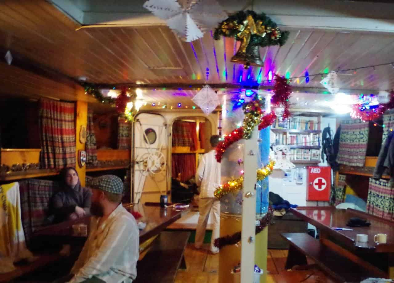 Christmas below decks on Picton Castle