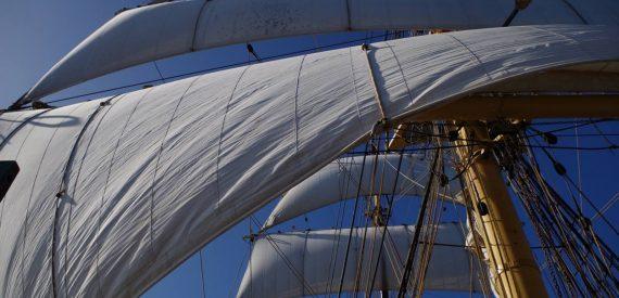 square sails set on Picton Castle
