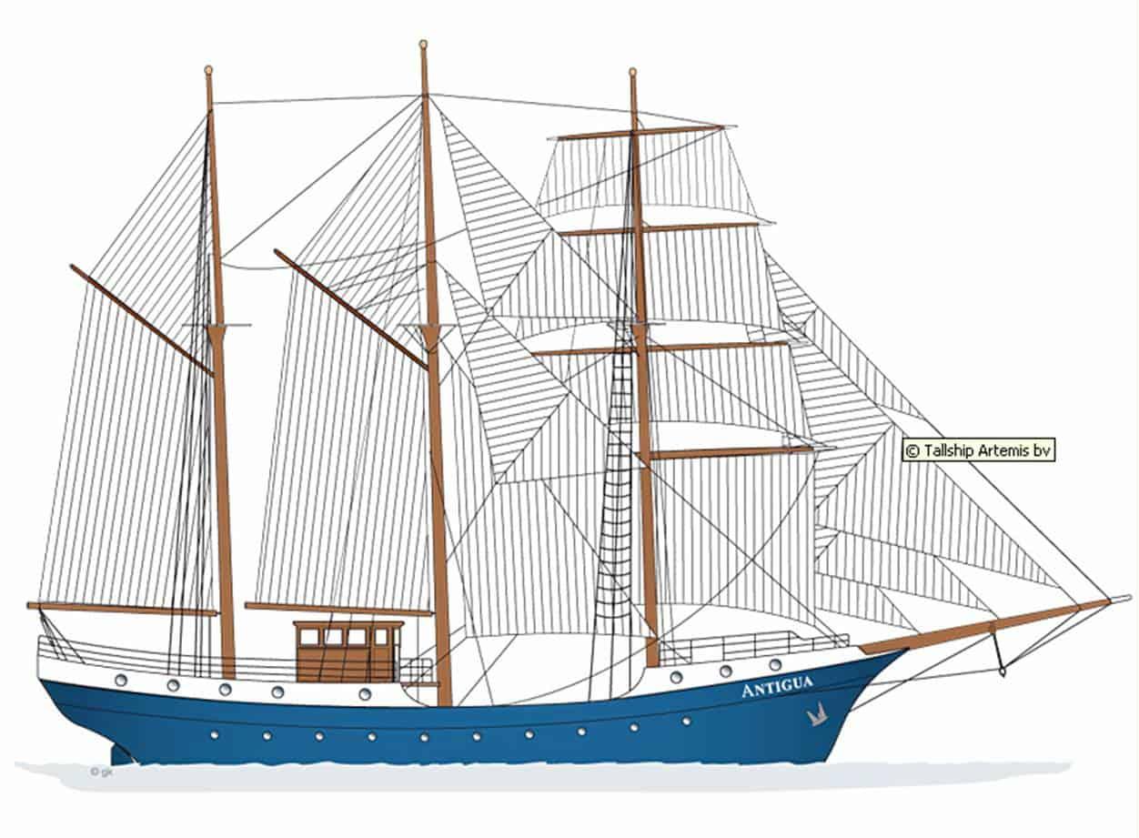 Tall Ship Antigua Barquentine Sail plan