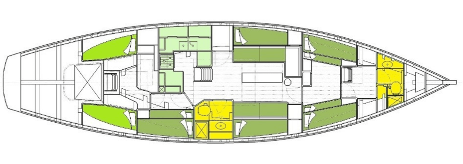 Pegasus Pilot Cutter Accommodation is spacious and comfortable.