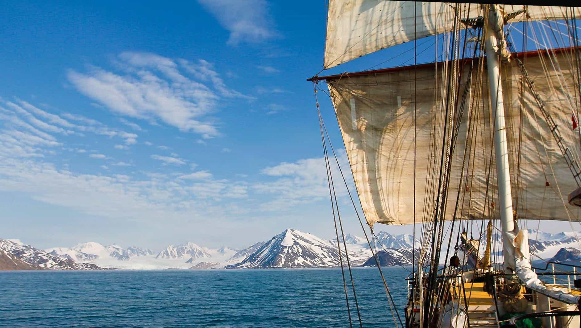 Tall ship Antigua sailing in Svalbard