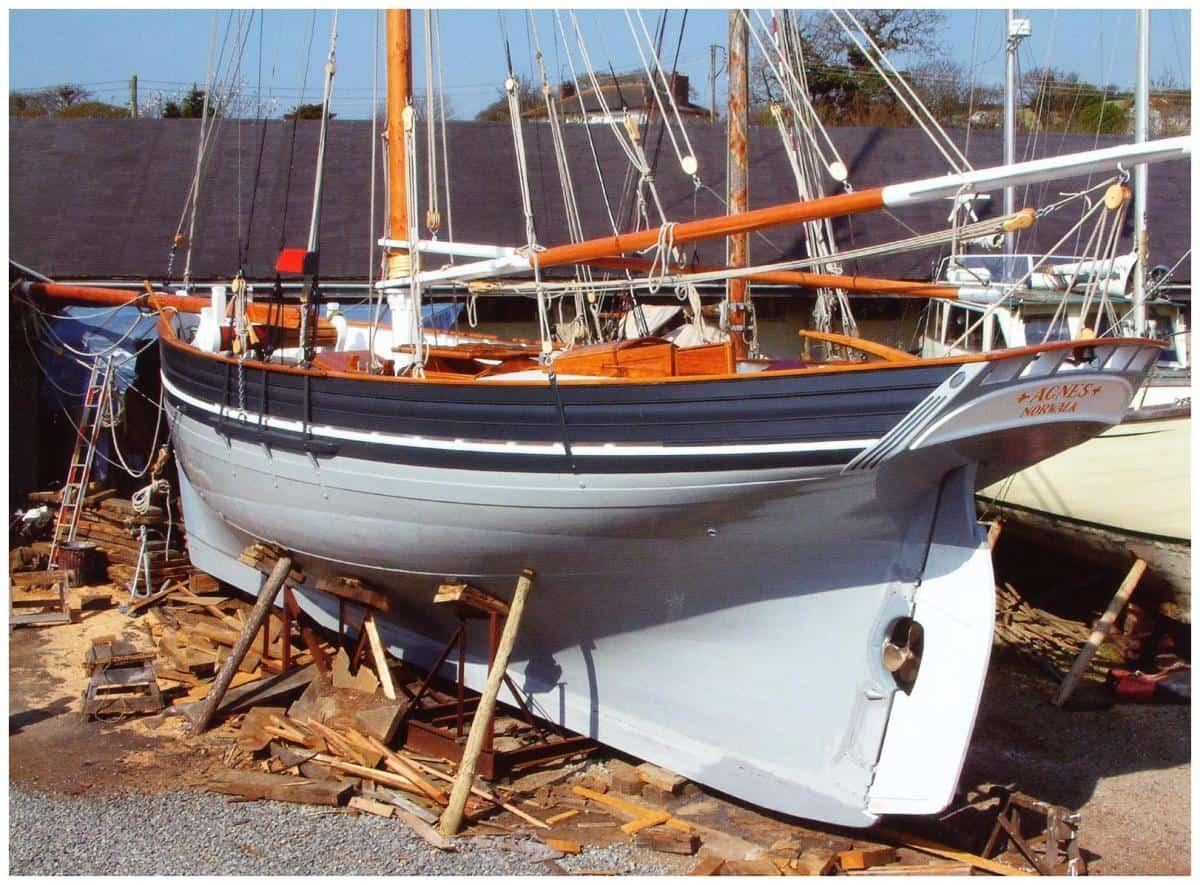 Agnes being built at Gweek Quay Boatyard