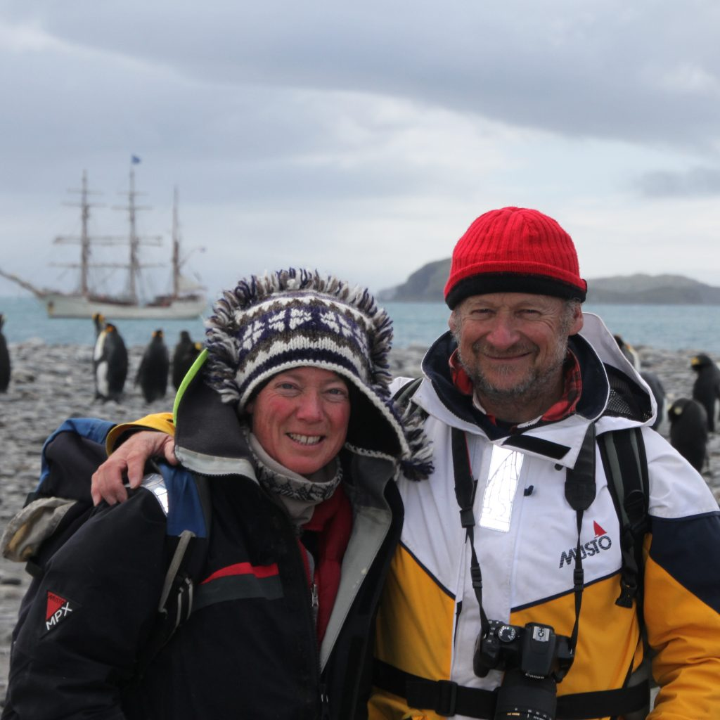 Debbie and Adam on Bark Europa's Centennial Antarctic Expedition