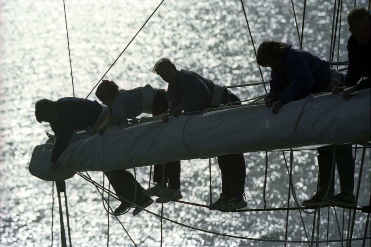 stowing sails aloft on Barque Tenacious
