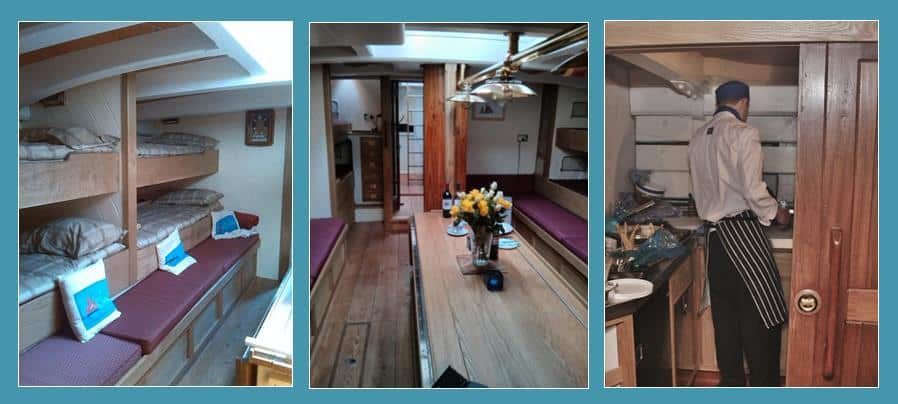 Pilgrim down below decks showing saloon, bunks and galley.