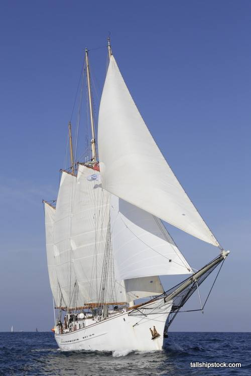 Blue Clipper under full sail.