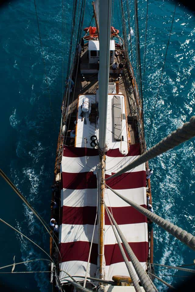 Stunning shot from the mast down on deck.