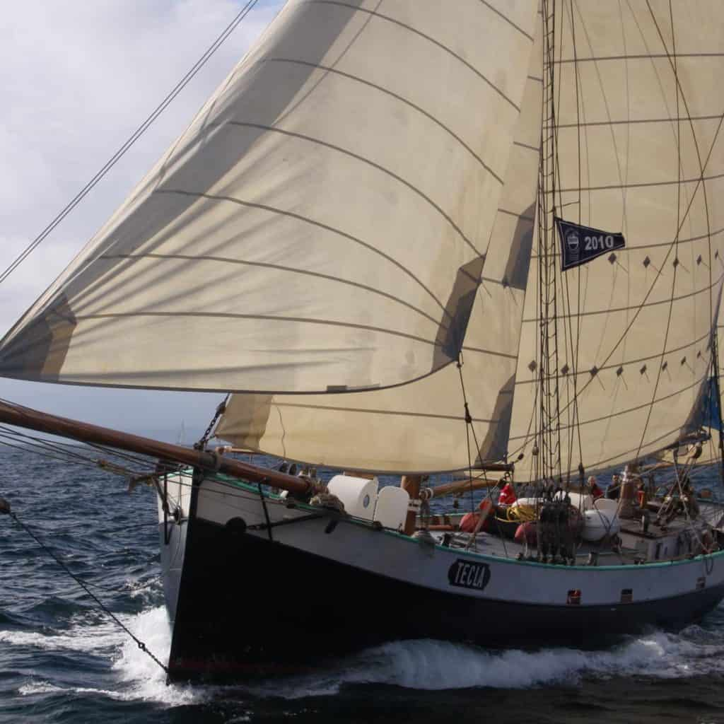Beautiful Tecla glides through the sea under full sail.