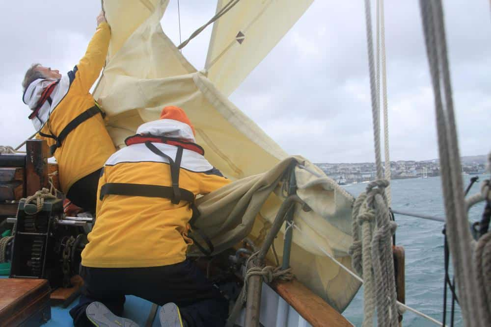 Taking down the staysail