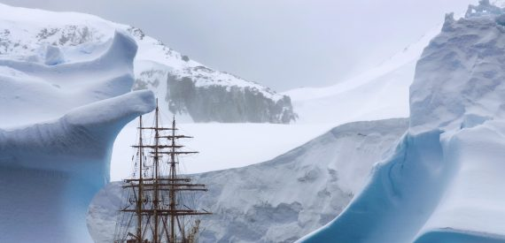 Antarctic anchorage for a modern tall ship. Bark Europa by Renee Koster