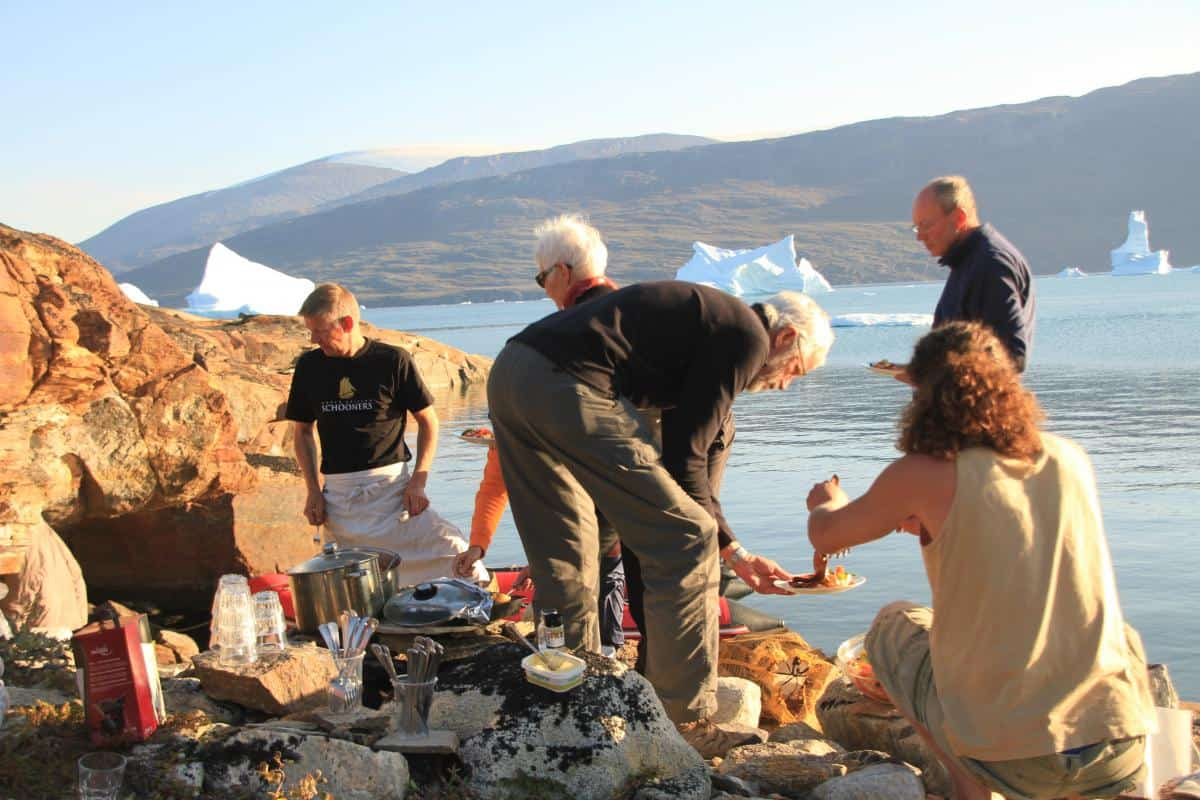 BBQ on the shores of Scorseby Sound in Greenland