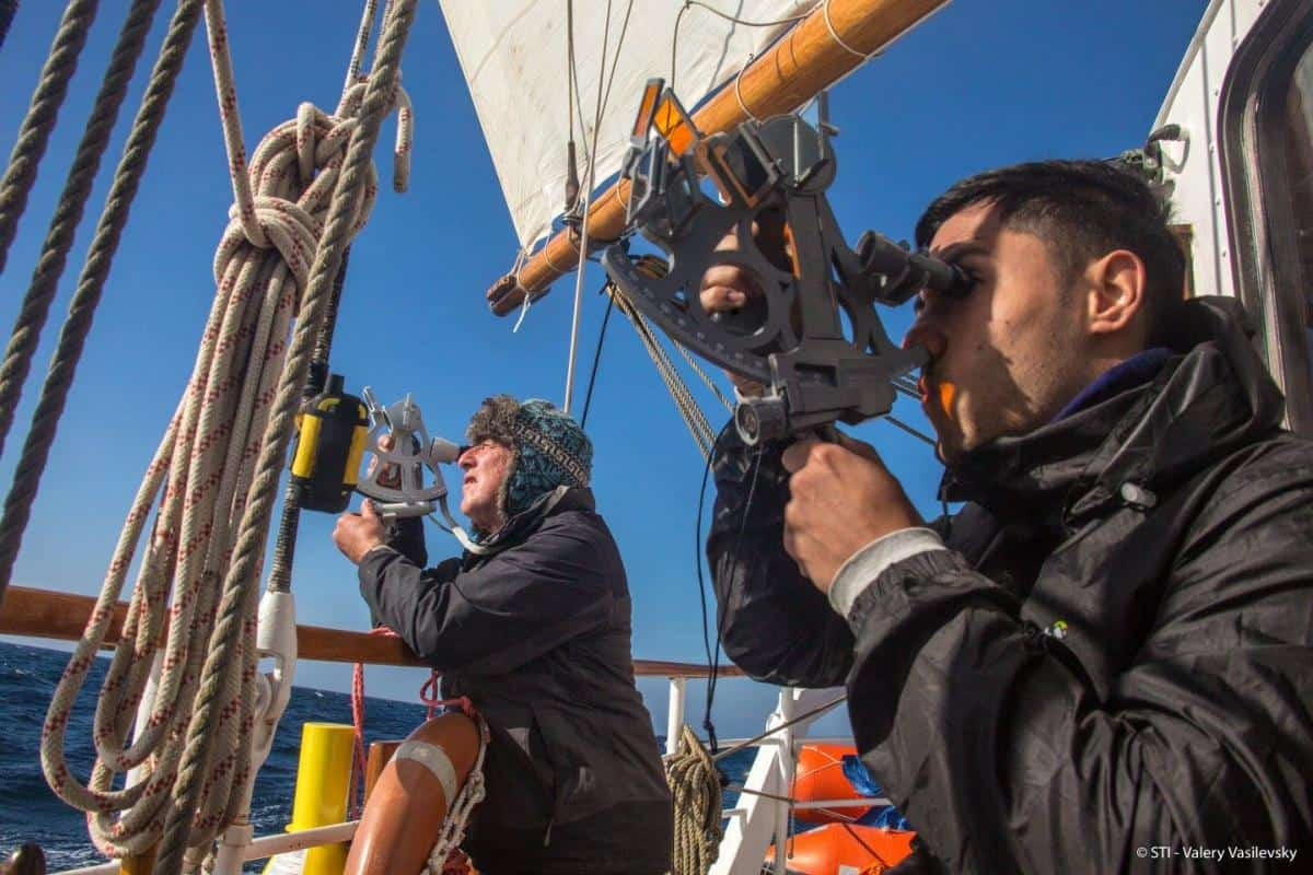 Sextant practice on Blue Clipper. Astro navigation on a schooner mid ocean