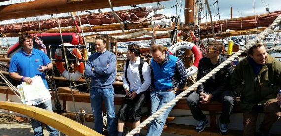 Initial briefing for new crew on Pilgrim Brixham Trawler