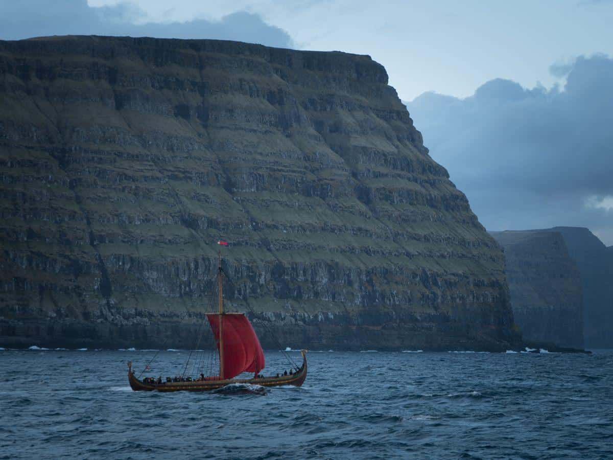 Largest Viking replica Draken Harald Harfagre off the Faroes