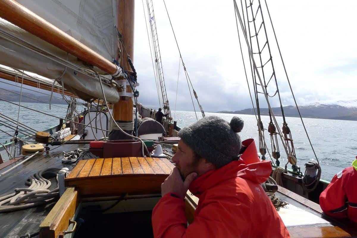Skipper Gijs in one of Tecla's famous beanie hats.