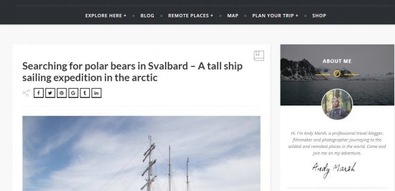 Travel Blog - Andy March in Svalbard on Tall Ship Antigua