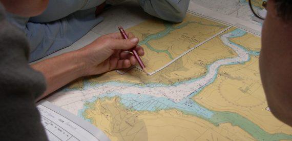 left handed navigator. RYA chartwork