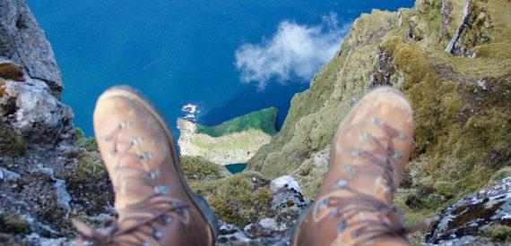 Tecla skipper on a high summit in the Faroes
