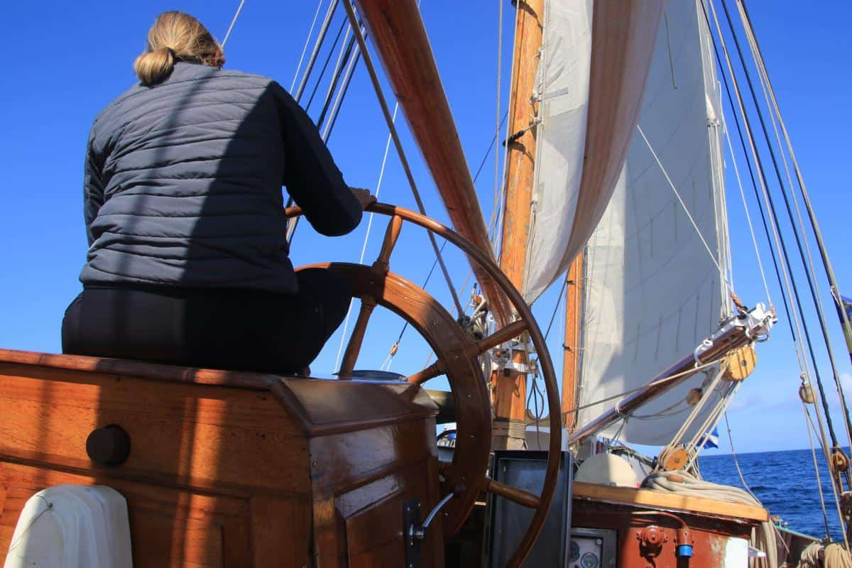 Getting comfy on the helm on Tecla