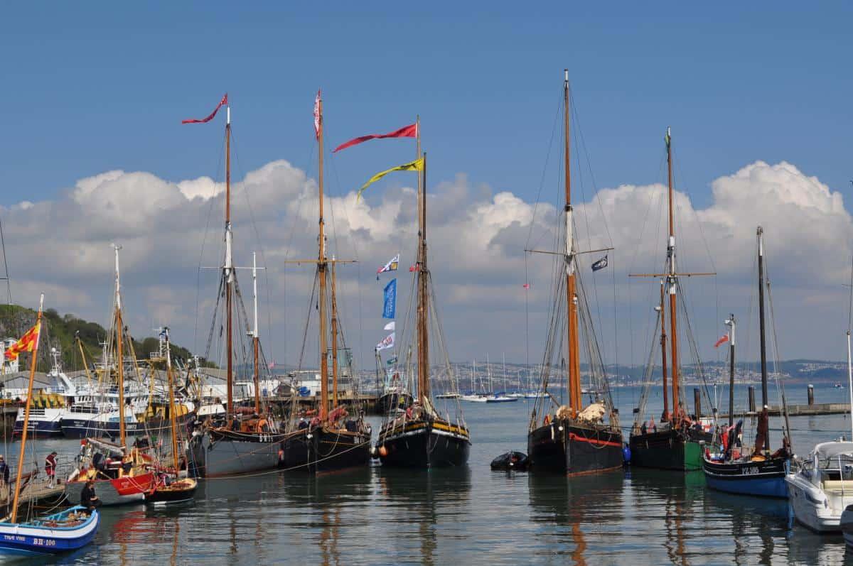 The heritage fleet alongside in Brixham