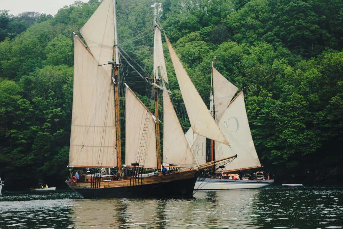 Johanna Lucretia sailing out with the pilot cutter fleet in Fowey