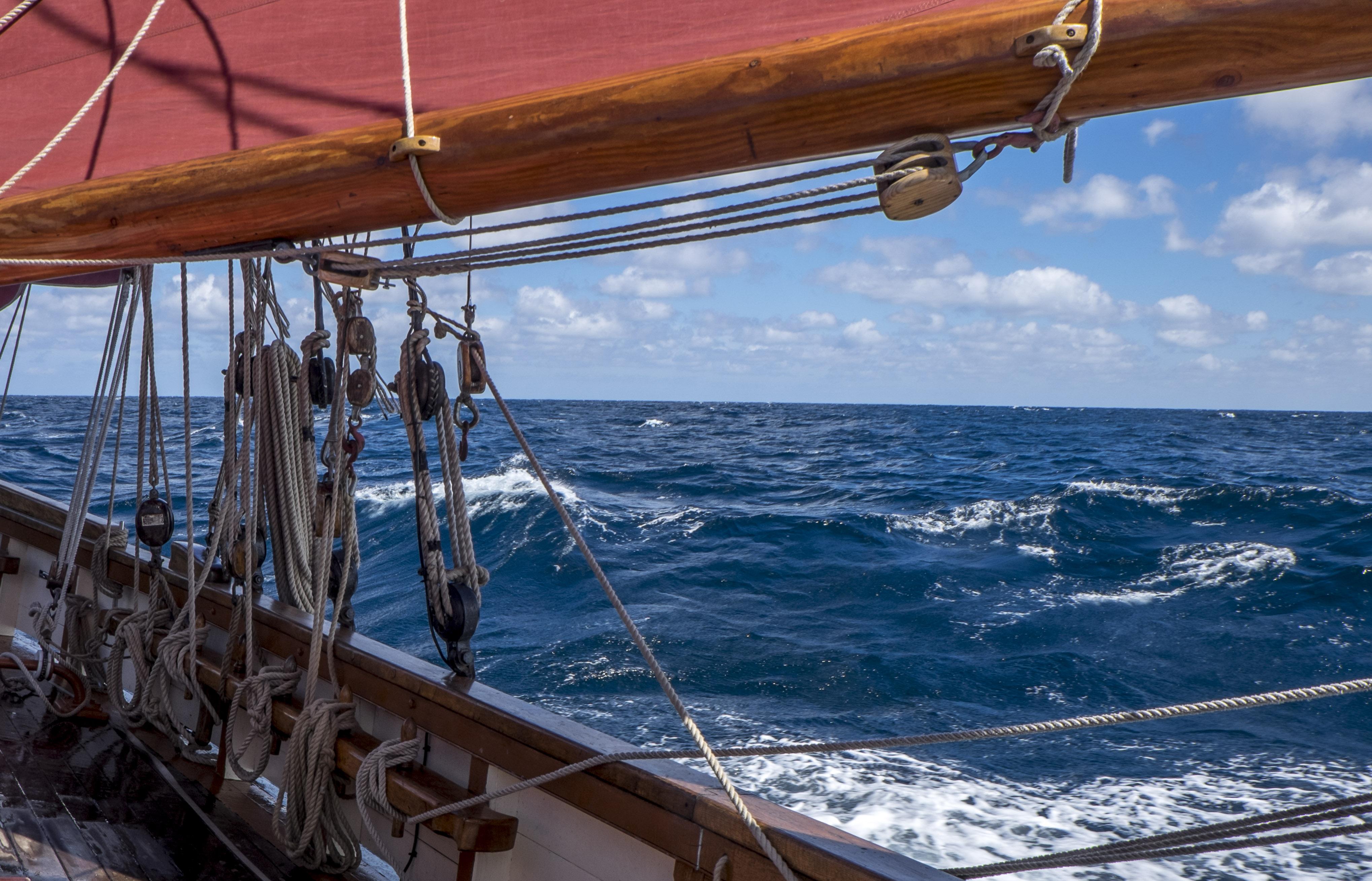 Offshore sailing on Pilgrim - she's a big seaworthy girl