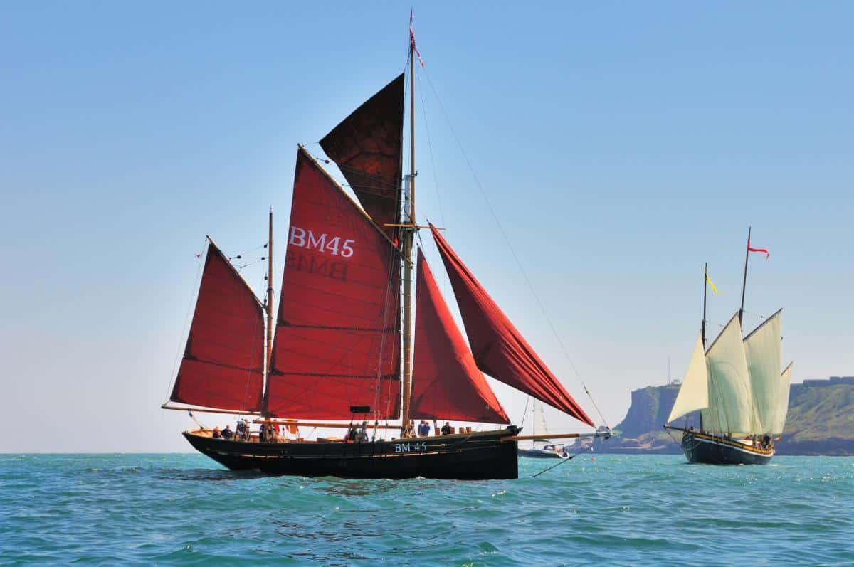 Pilgrim and Grayhound sailing near Berry Head and the entrance to Brixham