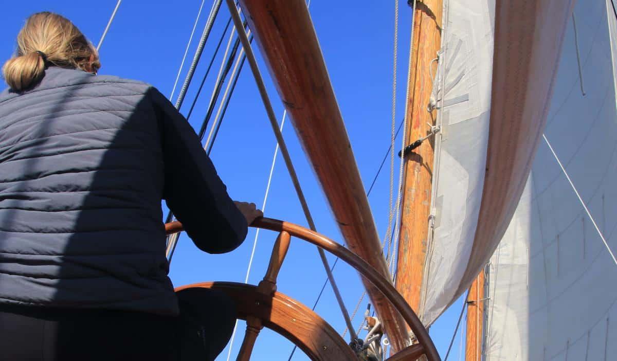 Johanna Lucretia has a European style ships wheel like this