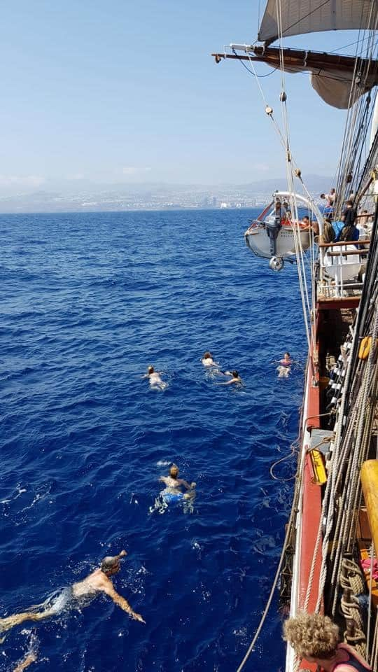 Bark Europa Crew take a swim off Tenerife
