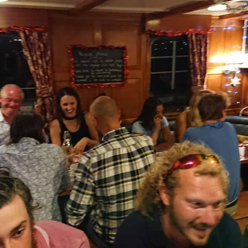 Saloon Christmas dinner on Blue Clipper