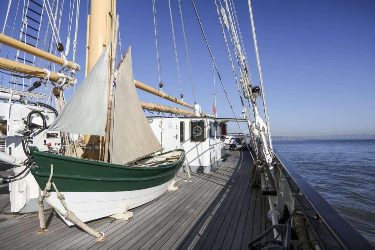 Main deck on Santa Maria Manuela has room to store dories, RIBS etc