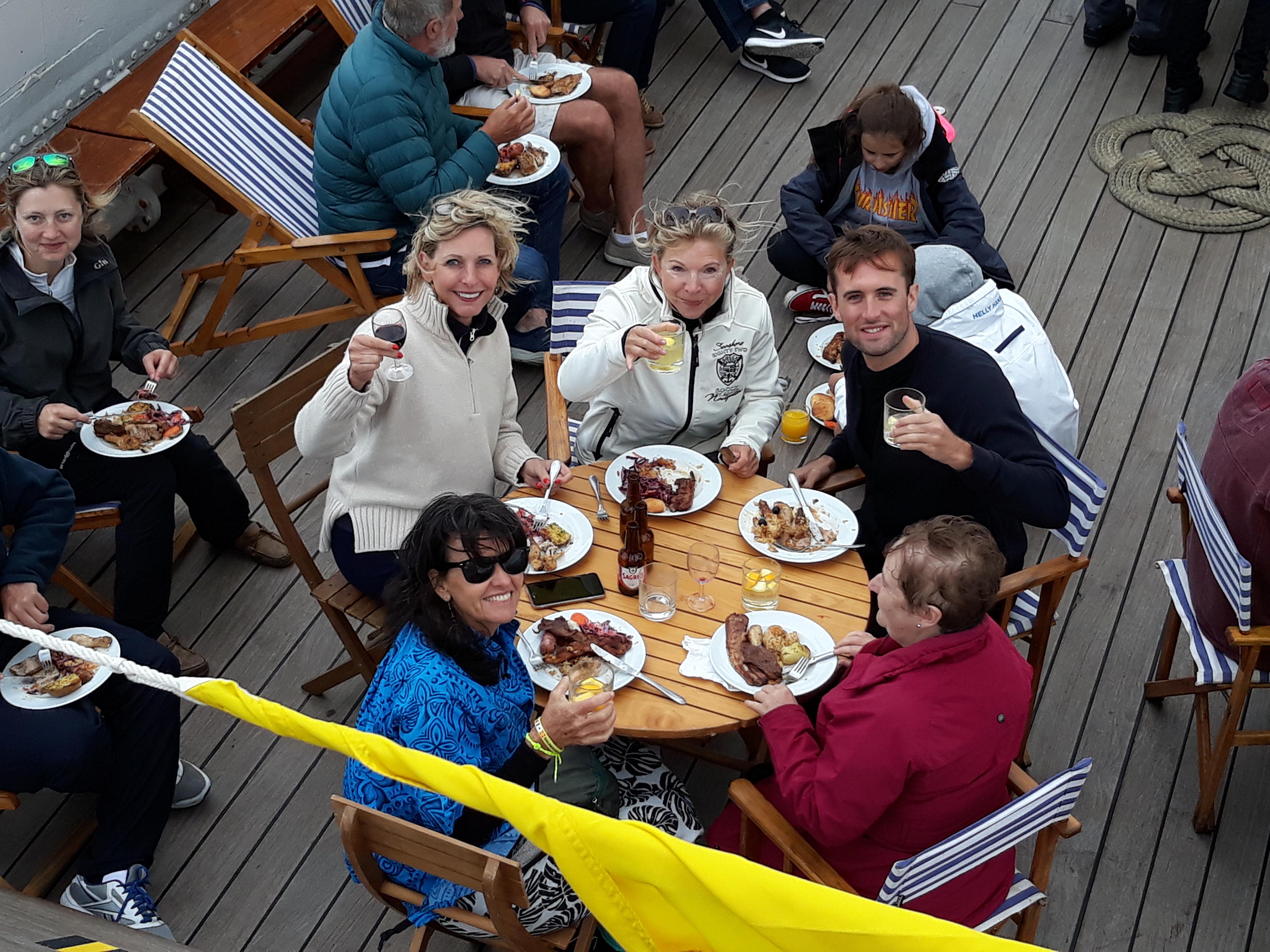 Meals on deck on a 200 ft schooner