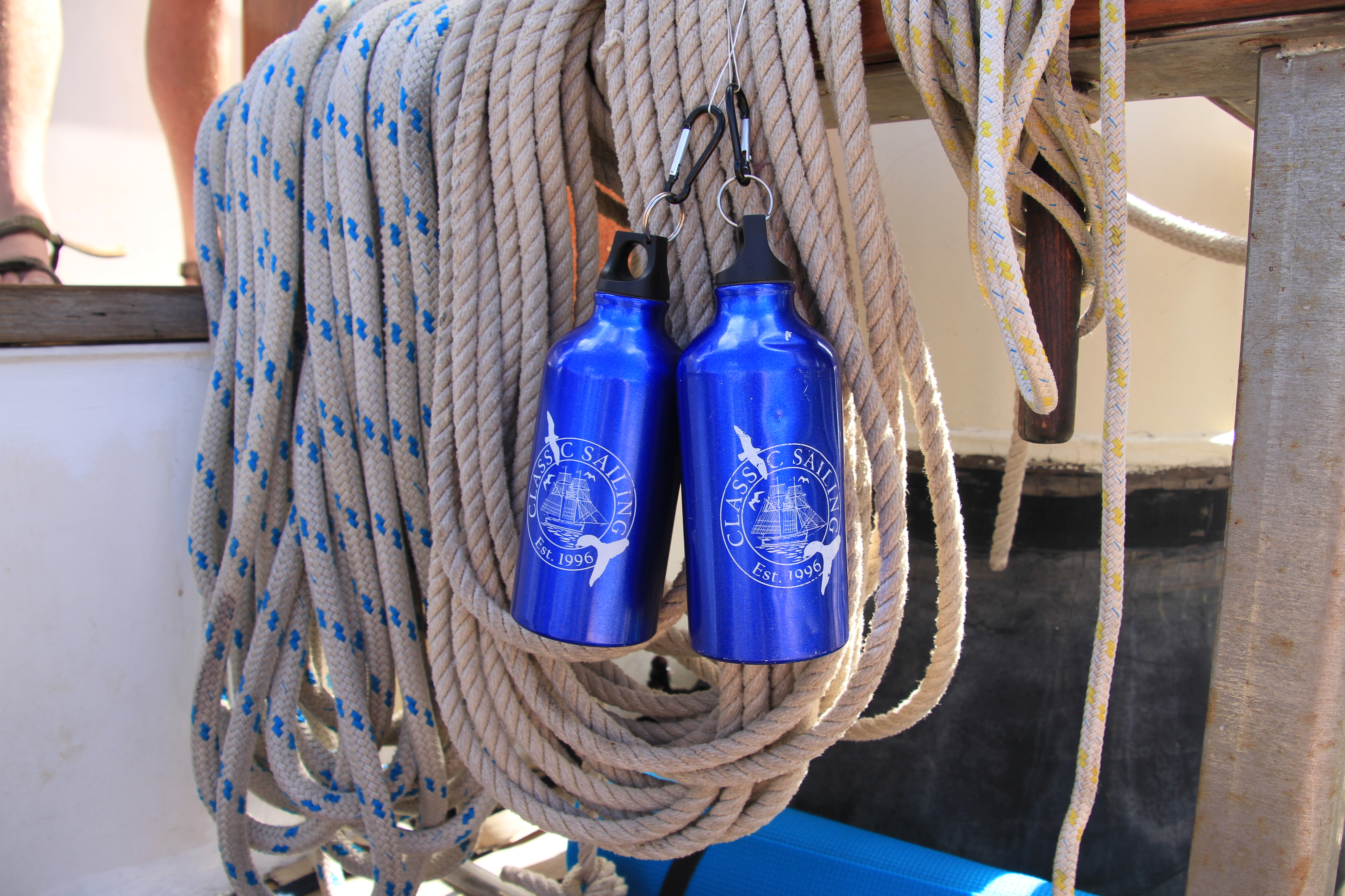 Take a waterbottle onboard to keep hydrated while out at sea