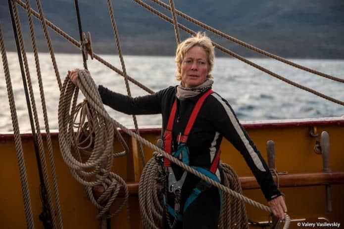 Debbie Purser sailing as deckhand on Bark Europa