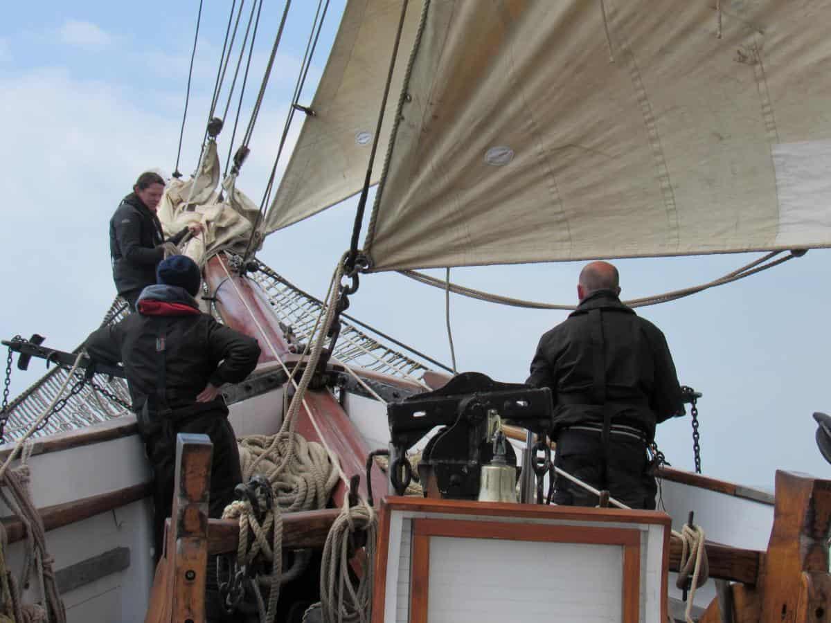 foredeck sail handling on Irene