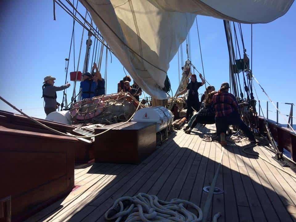 action on the foredeck on gaff ketch maybe