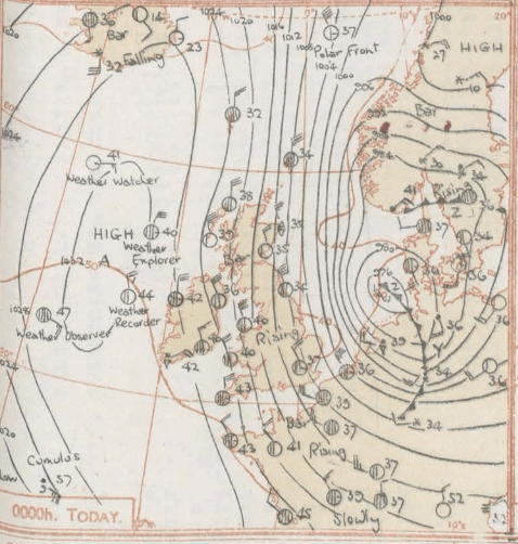 Synoptic Chart Midnight on 1st February  1953