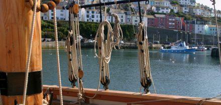 Brixham through the rigging