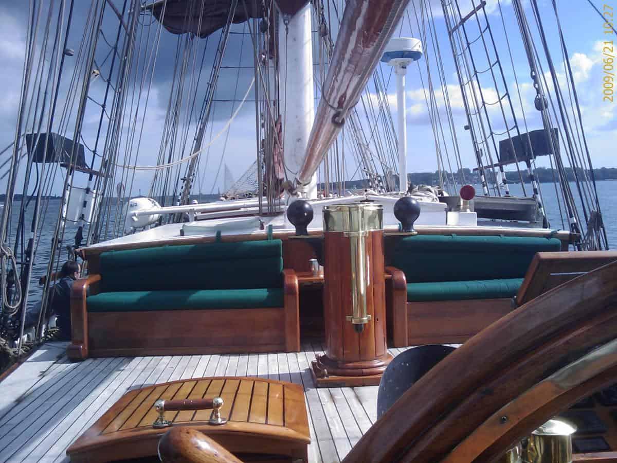 Sun deck cushions - not your average sail training ship