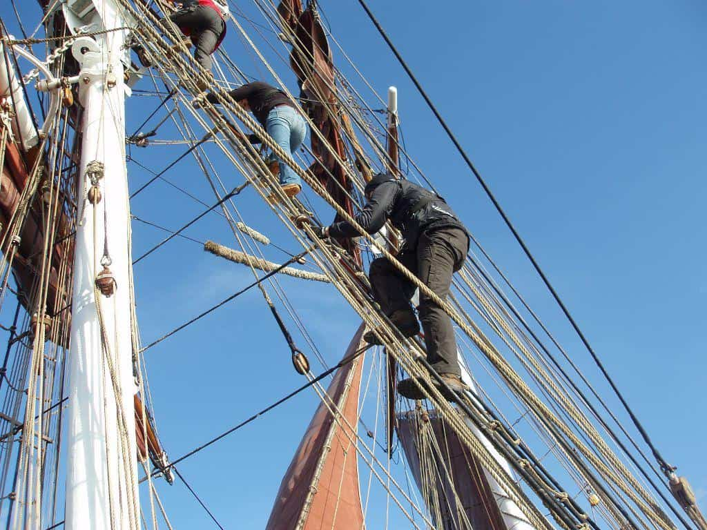 there is always a reason to go aloft on a brig