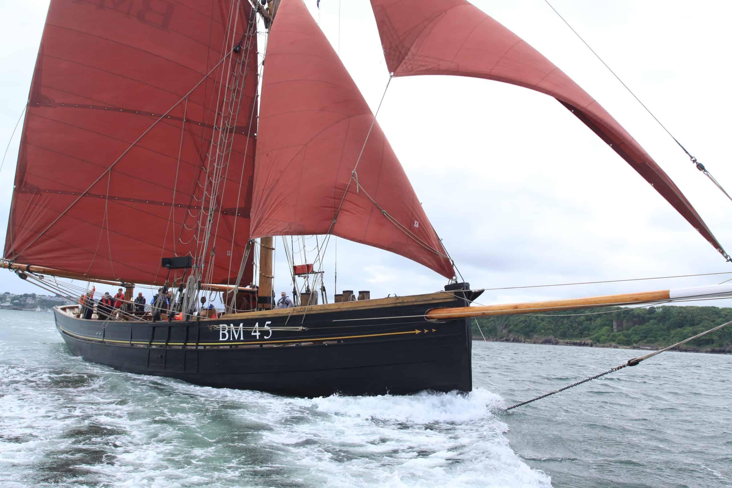 Pilgrim has iconic red sails