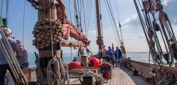 Pilgrim has wide decks and high gunnells