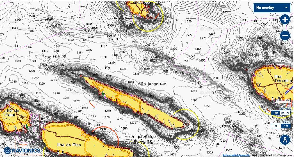 Azores chart with deep seabed and seamounts