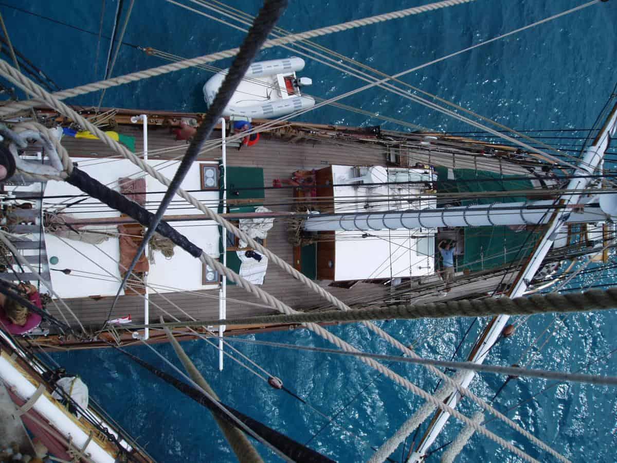 Eye of the Wind deck from aloft