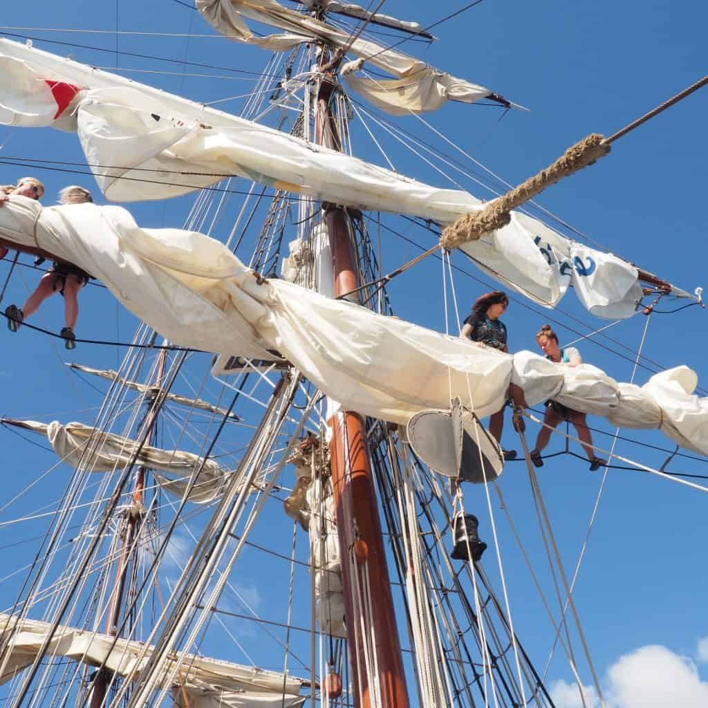 Stowing sail on Morgenster by carol viggars